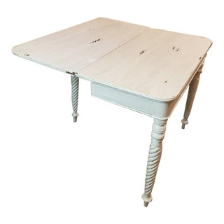 19th Century Distressed Painted White Flip-Top Table For Sale