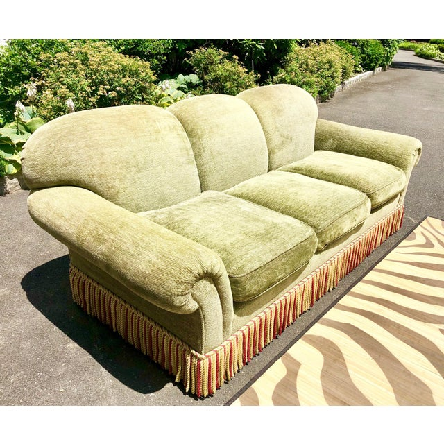 English 1990s Vintage Edward Ferrell Green Fringe Sofa For Sale - Image 3 of 13