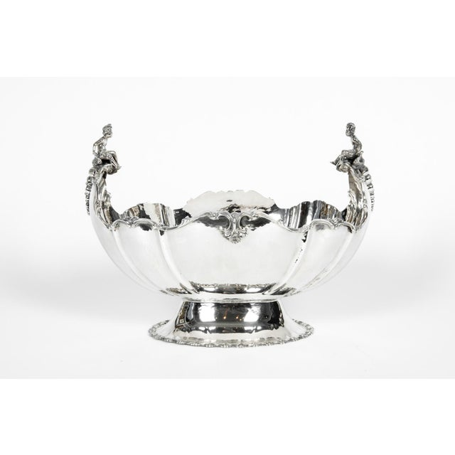 Metal Antique Sterling Silver Boat Shape Centerpiece For Sale - Image 7 of 13