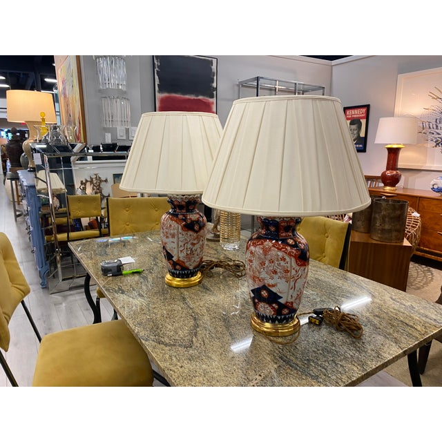 Antique Imari Lamps with Gilt Bronze Mounts - a Pair For Sale - Image 9 of 10