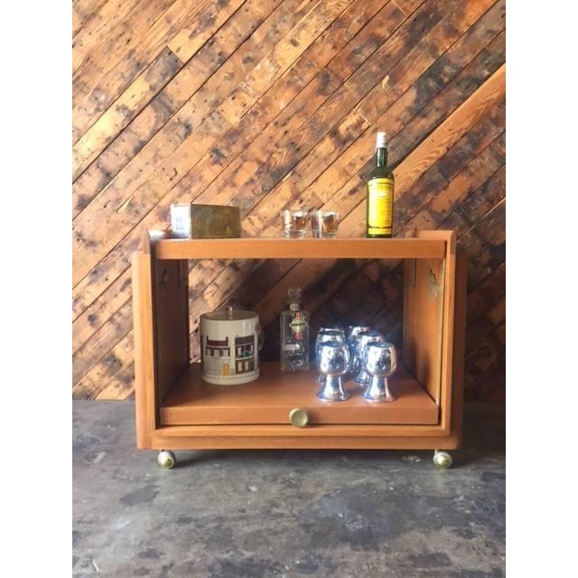 Vintage Brown Saltman Cocktail Cart Table - Image 3 of 8