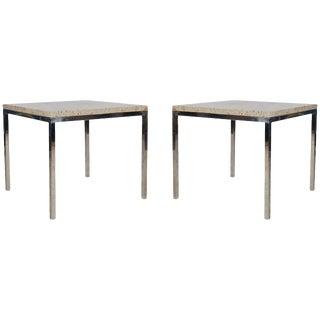 Mid-Century Modern Italian Chrome and Marble End Tables - a Pair