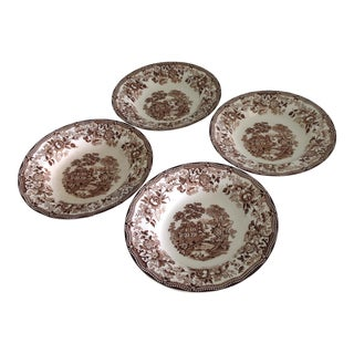 Vintage English Staffordshire Brown and White Soup Plates - Set of 4 For Sale