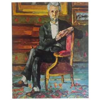 "Paul Cezanne Rare Vintage 1952 Post Impressionist Authentic Lithograph Print "" Chocquet Seated "" 1887 For Sale"