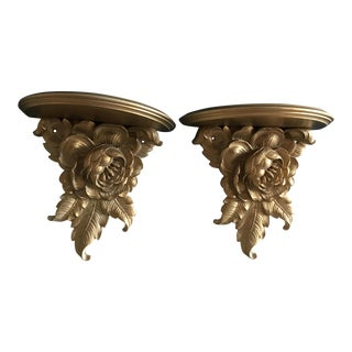 Hollywood Regency Syroco Wood Gold Wall Shelves or Sconces - a Pair
