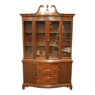 1940s Traditional Georgetown Galleries Solid Mahogany China Cabinet For Sale