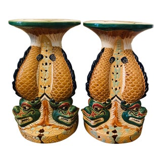 Vintage Colorful Foo Fish Garden Stools - a Pair For Sale