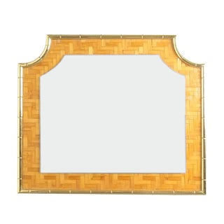 Bamboo Marquetry Brass Mirror Manner of Crespi, Italy 1950