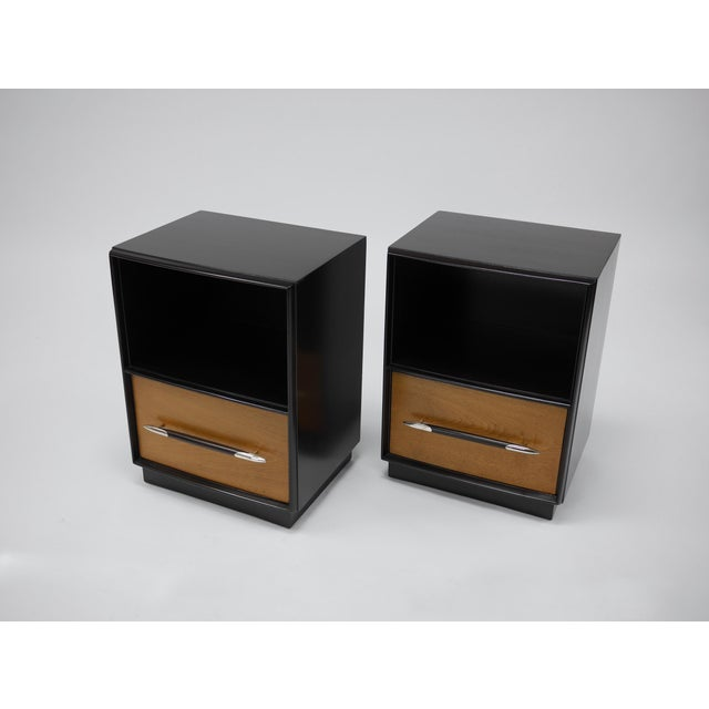 Tulip Collection Nightstands by T.h. Robsjohn-gibbings for Widdicomb Done in Dark Walnut and Natural Lacquer. the Stave...