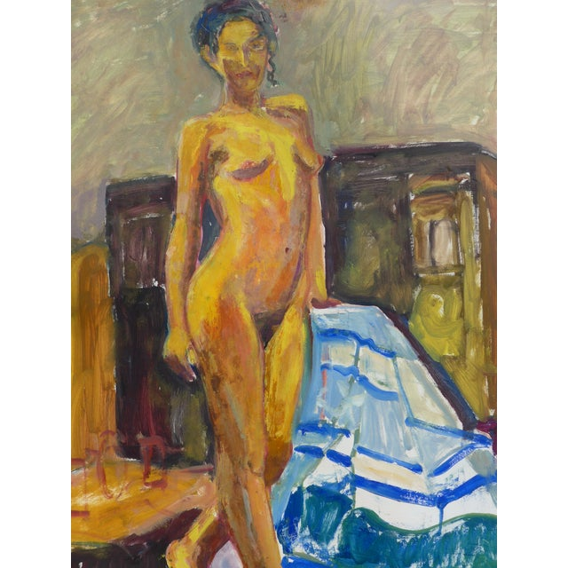 Original oil painting on French paper of a young and beautiful female model, posing in an atelier in Paris, France. Artist...