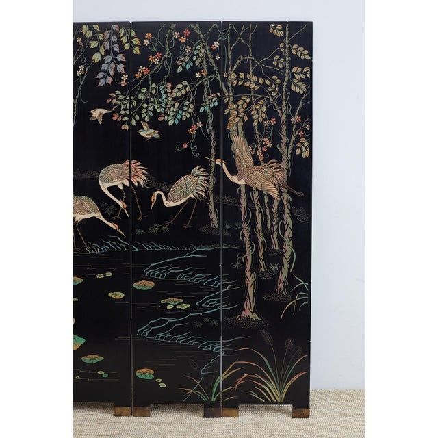 Chinese Four-Panel Coromandel Screen of Cranes For Sale - Image 4 of 13