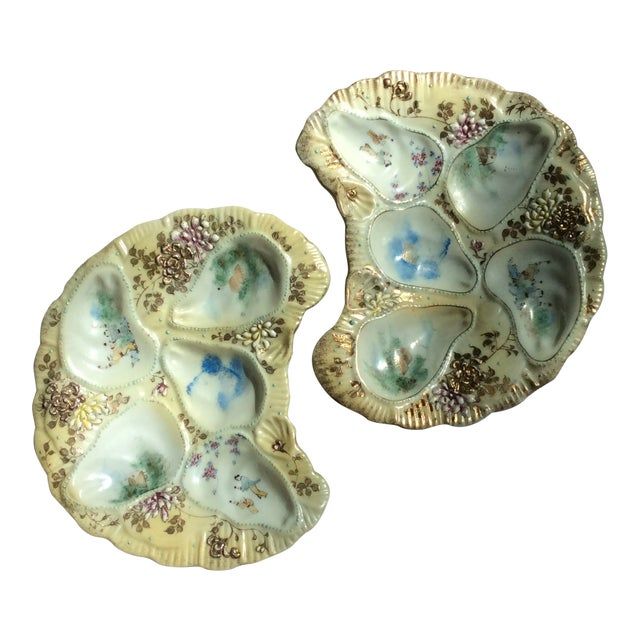 Antique French Porcelain Oyster Plates - a Pair For Sale