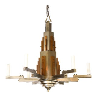 Wonderful Bold Deco Chandelier For Sale