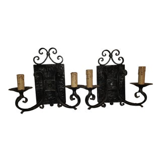 Vintage Arts & Crafts Black Hammered Wrought Iron Wall Sconces - a Pair For Sale