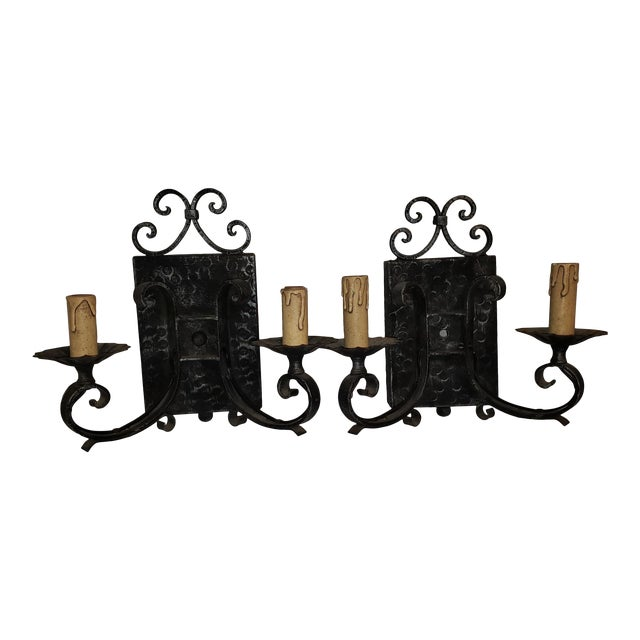 4048d4e6f Vintage Arts   Crafts Black Hammered Wrought Iron Wall Sconces - a Pair For  Sale