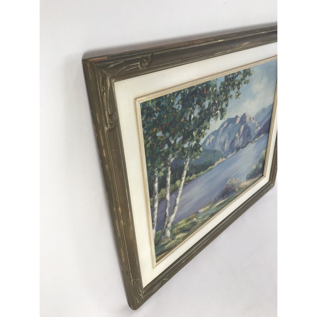 1940's Original Oil on Canvas Mountain Landscape Signed For Sale - Image 9 of 13