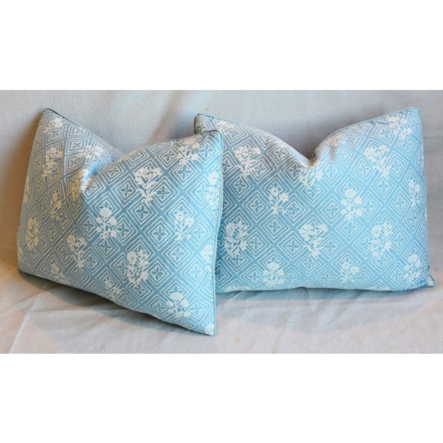 """Blue & White Italian Mariano Fortuny Feather/Down Pillows 22"""" X 16"""" - Pair For Sale - Image 9 of 13"""
