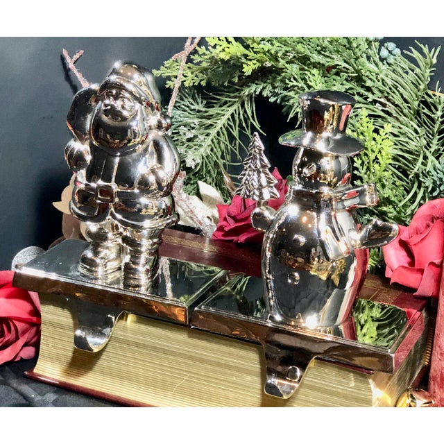 Vintage Stocking Hooks Christmas Silver Snowman and Santa - Set of 2 For Sale In Phoenix - Image 6 of 11
