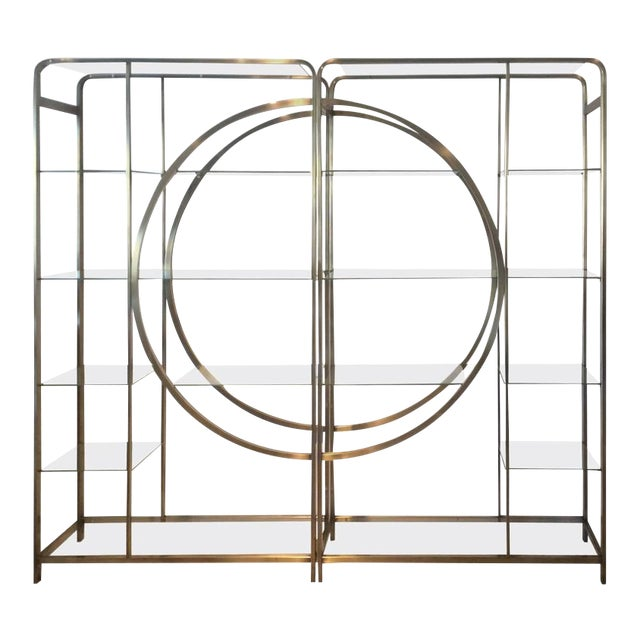 Design Institute of America Milo Baughman Vintage Brass Etagere Shelves - A Pair - Image 1 of 11