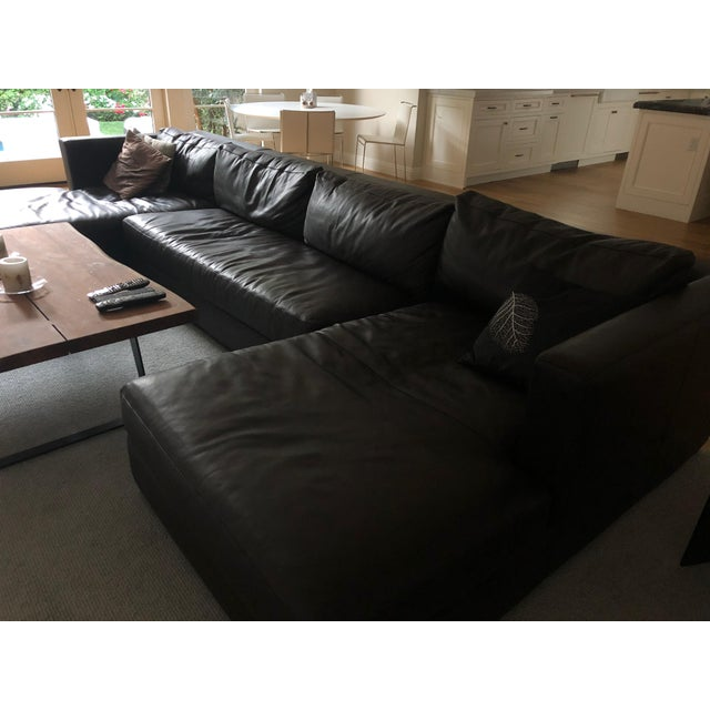 Restoration Hardware Restoration Hardware 1970s Design Modern U Chaise Sectional Leather Sofa For Sale - Image 4 of 8