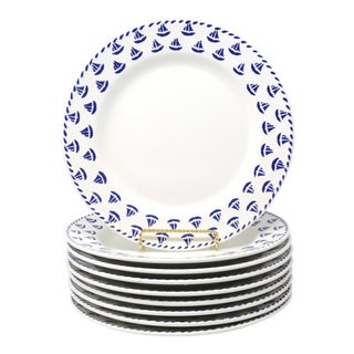 Made in Italy Vintage Italian Nautical Sailboat Dinner Plates by Furio - Set of 9 For Sale