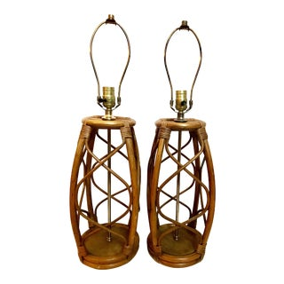 Mid Century Rattan Lamps - a Pair For Sale