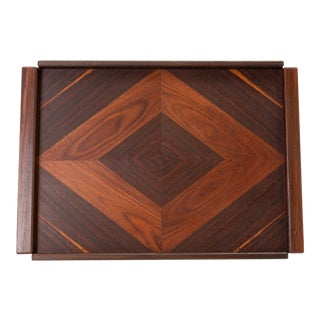 Rosewood Tray With Diamond Motif by Don Shoemaker for Señal For Sale