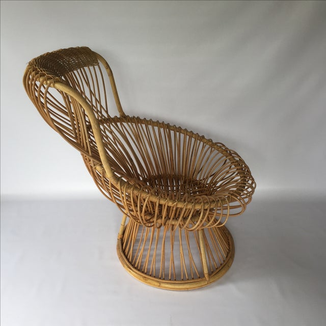 Franco Albini Style Vintage Rattan Margarita Chair For Sale - Image 4 of 7