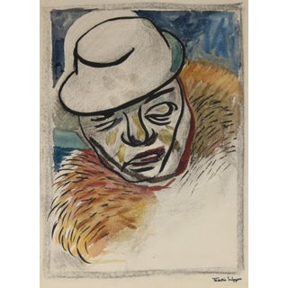Figure in a Hat Mid Century Watercolor & Charcoal For Sale