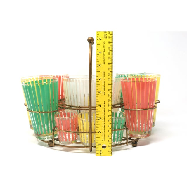 Vintage MCM Pastel Stripes Cocktail and Shot Glasses Barware With Ice Bucket and Brass Caddy - Set of 14 For Sale - Image 11 of 13