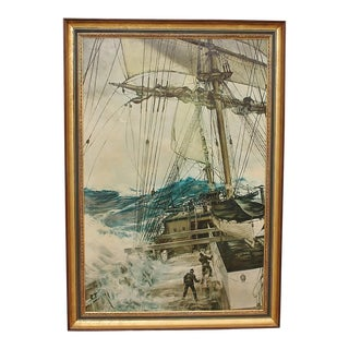 "Custom Framed ""Rising Wind"" Giclee Canvas by Montague Dawson For Sale"