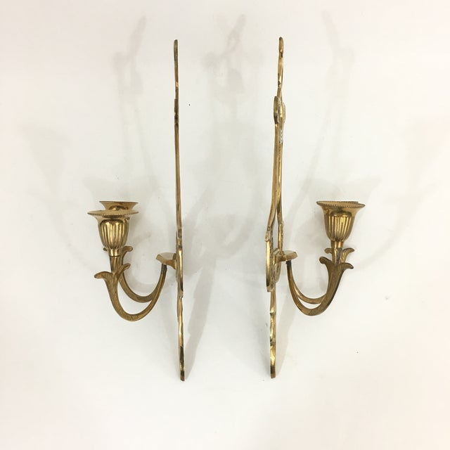 Anglo-Indian Brass Neoclassical Double Candlestick Sconces - a Pair For Sale - Image 3 of 7