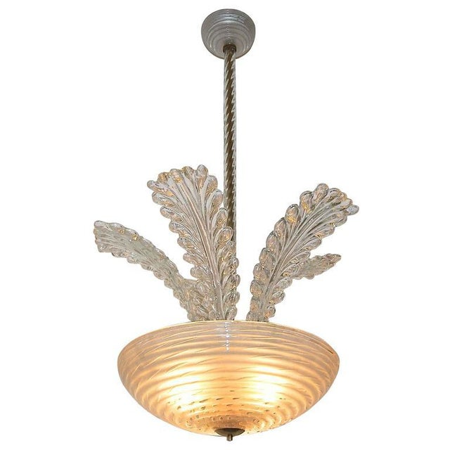 1950s Italian Barovier Murano Glass Leaf Chandelier For Sale - Image 10 of 10