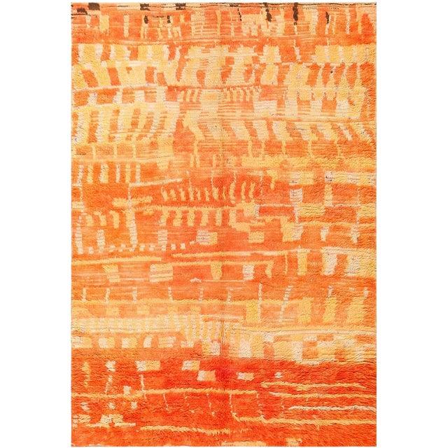 Vintage Moroccan Orange Wool Rug - 4′6″ × 6′6″ For Sale