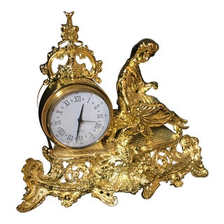 Italian Polish Brass Mantel Clock Statue of a Woman For Sale