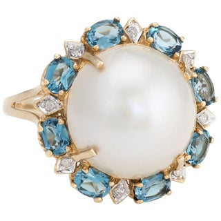 Estate Mabe Pearl Topaz Diamond Ring 14 Karat Gold Round Cocktail Jewelry Fine For Sale