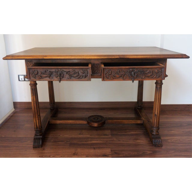 19th Spanish Refectory Table with Two Drawers, Desk Table - Image 4 of 9