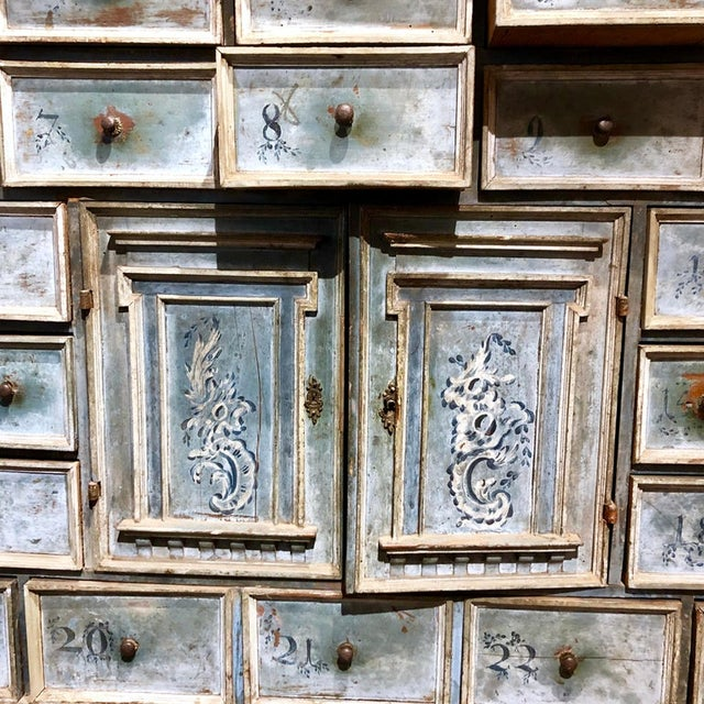 17th Century Blue Hand Painted Swiss Baroque Multi-Drawer Cabinet For Sale In Washington DC - Image 6 of 8