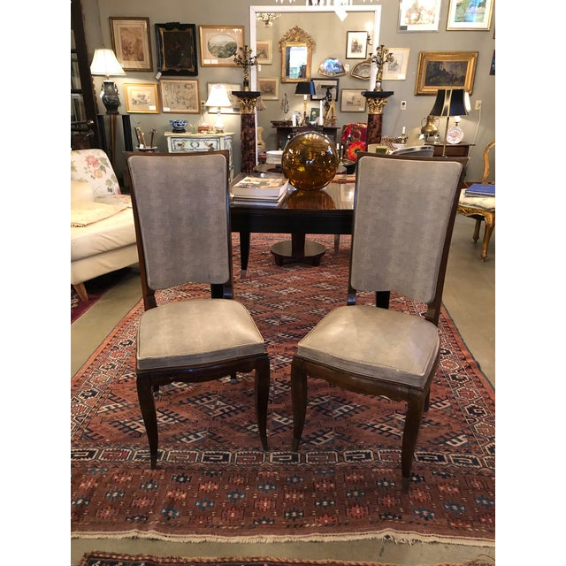 1930s Vintage French Art Deco Mahogany Faux Shagreen Dining Chairs - a Pair For Sale - Image 11 of 11