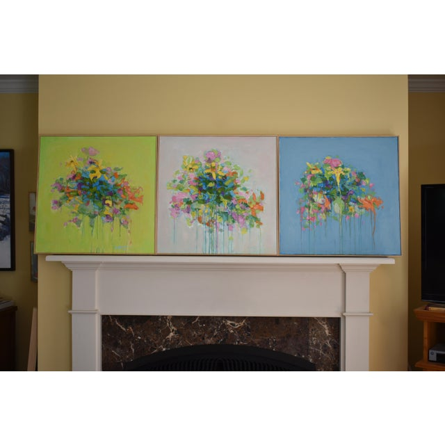 Stephen Remick Abstract Bouquet on Green Background Painting For Sale - Image 10 of 11
