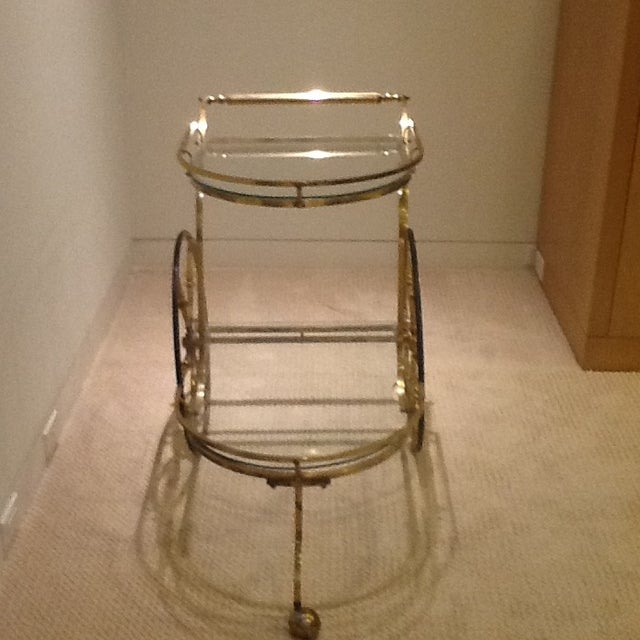 Vintage Mid Century Glass and Brass Bar Cart - Image 2 of 7