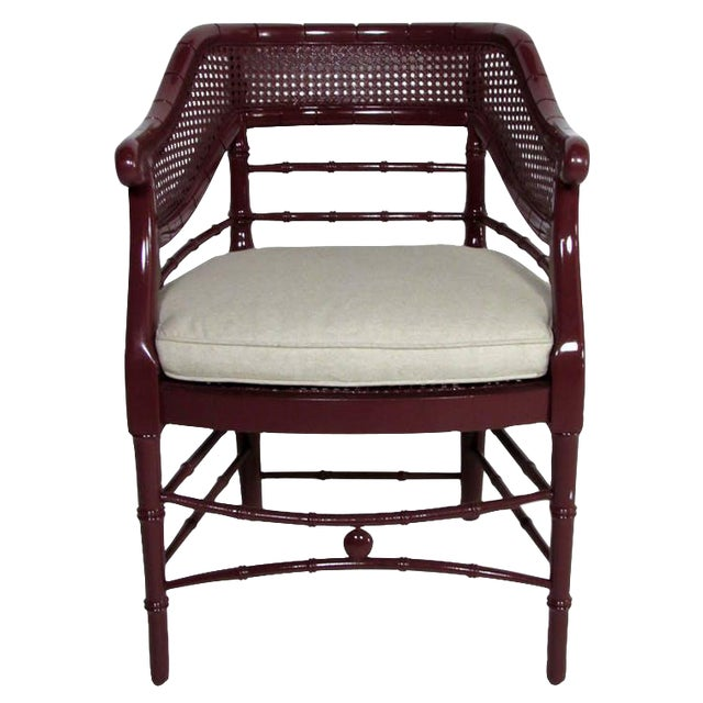 Faux Bamboo & Cane Lacquered Club Chair - Image 1 of 8