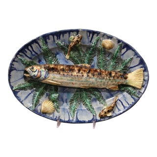 19th Century French Hand Painted Ceramic Barbotine Fish Platter Palissy Style For Sale