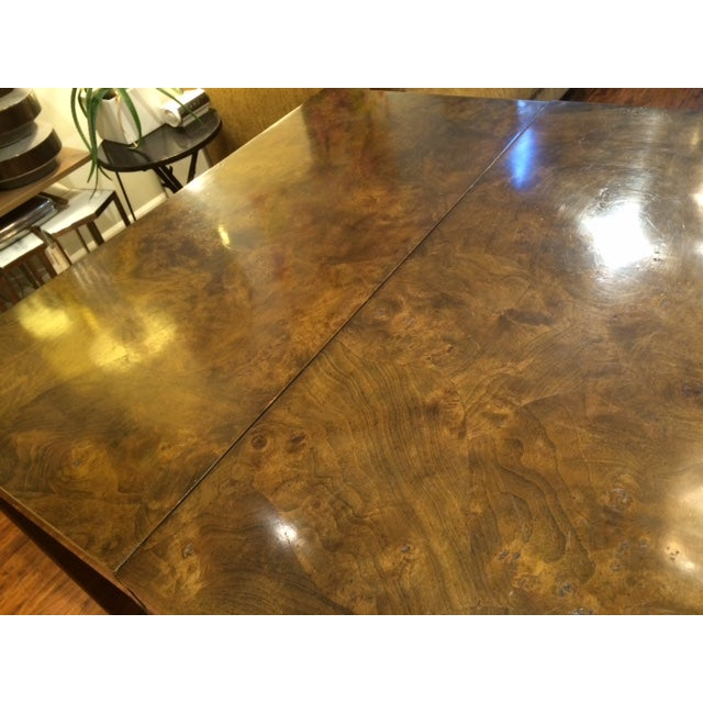 Modern Brass & Burlwood Parson Dining Table - Image 6 of 6