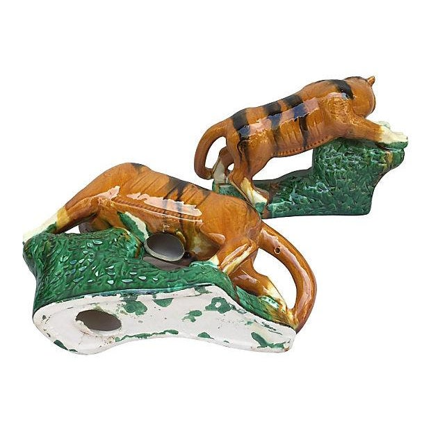 Glazed Terracotta Tigers - A Pair For Sale - Image 5 of 7