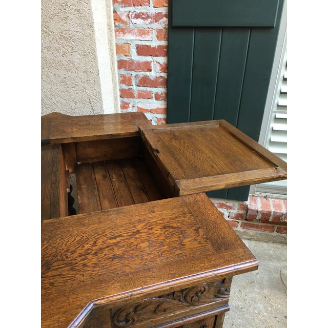 Antique English Carved Oak Barley Twist Hall Console Table Cabinet Gothic Stand For Sale - Image 9 of 12