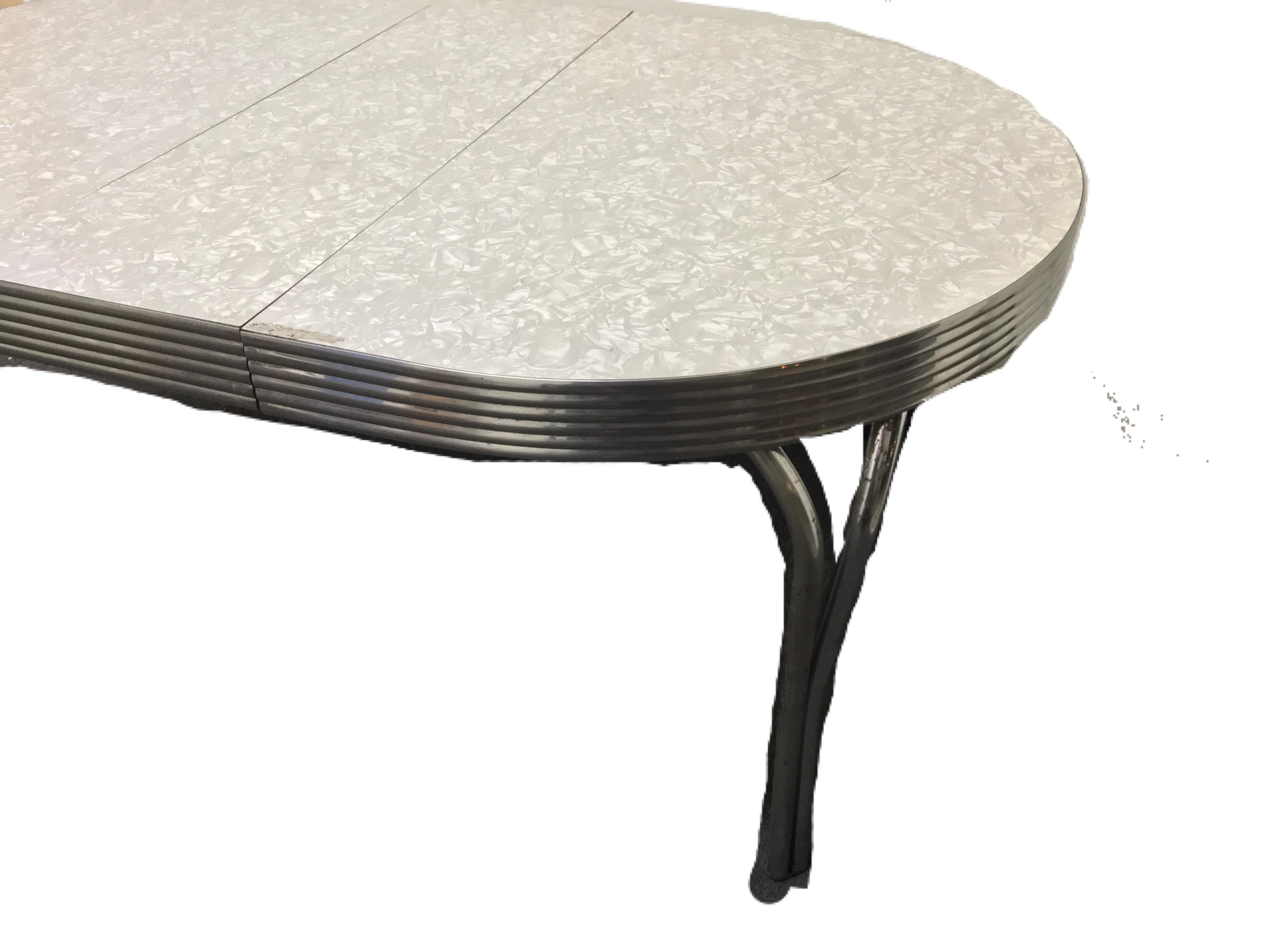 Vitro Vintage Cracked Ice Formica U0026 Chrome Dinette Table   Image 4 Of 10