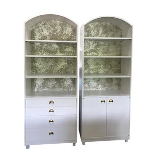 1950s Mid Century Modern Satin White Curved Bookcases - a Pair For Sale