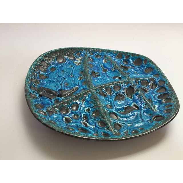 Vintage French Set of Three Glazed Painted Stoneware Plates in Blue Lava, 1970s For Sale - Image 9 of 11