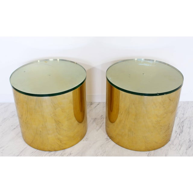 For your consideration is an utterly fabulous, pair of brass polished aluminium, round drum side or end tables, with green...